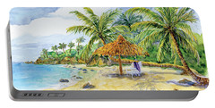 Palappa N Adirondack Chairs On A Caribbean Beach Portable Battery Charger
