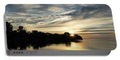 Pale Gold Sunrays - A Cloudy Sunrise With Two Ducks Portable Battery Charger