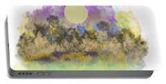 Portable Battery Charger featuring the digital art Pale Yellow Moon by Jessica Wright
