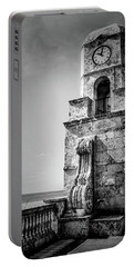 Palm Beach Clock Tower In Black And White Portable Battery Charger