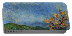 Portable Battery Charger featuring the painting Palm Court Morgan Hill California Landscape 8 by Xueling Zou