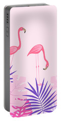 Palm Leaves And Flamingo Portable Battery Charger