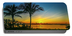 Palm Tree And Boat Sunrise Portable Battery Charger