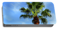 Palm Tree, Blue Sky, Wispy Clouds Portable Battery Charger