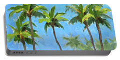 Portable Battery Charger featuring the painting Palm Tree Plein Air Painting by Karen Whitworth
