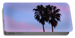 Palm Trees Silhouette At Sunset Portable Battery Charger