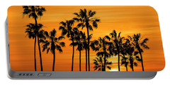 Portable Battery Charger featuring the photograph Palm Trees At Sunset By Cabrillo Beach by Randall Nyhof