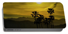 Portable Battery Charger featuring the photograph Palm Trees At Sunset With Mountains In California by Randall Nyhof