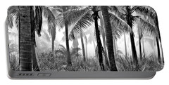 Palm Trees - Black And White Portable Battery Charger