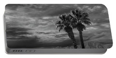 Portable Battery Charger featuring the photograph Palm Trees By Borrego Springs In Black And White by Randall Nyhof