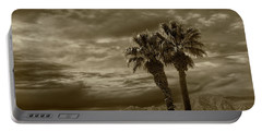 Portable Battery Charger featuring the photograph Palm Trees By Borrego Springs In Sepia Tone by Randall Nyhof