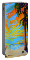Florida Palm Trees, Tropical Beach, Colorful Sunset Painting Portable Battery Charger