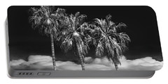Portable Battery Charger featuring the photograph Palm Trees In Black And White On Cabrillo Beach by Randall Nyhof