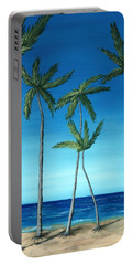 Portable Battery Charger featuring the painting Palm Trees On Blue by Anastasiya Malakhova