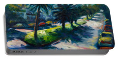Palm Trees Portable Battery Charger by Rick Nederlof