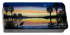 Palmetto Tree And Moon Low Country Sunset Portable Battery Charger by Patricia L Davidson