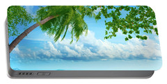 Palmtree On The Beach Portable Battery Charger