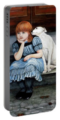 Portable Battery Charger featuring the painting Pals Forever by Judy Kirouac