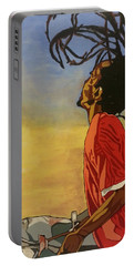 Portable Battery Charger featuring the painting Pan Rising by Rachel Natalie Rawlins