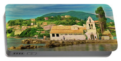 Portable Battery Charger featuring the photograph Panagia Vlacherna Church - Pontikonisi - Corfu by Leigh Kemp