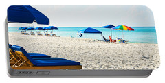 Panama City Beach Florida With Beach Chairs And Umbrellas Portable Battery Charger by Vizual Studio
