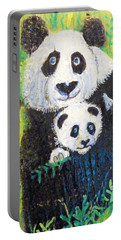 Panda Mother And Cub Portable Battery Charger by Ann Michelle Swadener