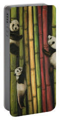 Pandas Climbing Bamboo Portable Battery Charger by Leah Saulnier The Painting Maniac