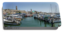 Portable Battery Charger featuring the photograph Panorama In Acre Harbor by Arik Baltinester