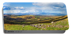 Panorama Of A Colourful Undulating Irish Landscape In Kerry Portable Battery Charger by Semmick Photo
