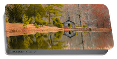 Panorama Of Cabin By The Lake Portable Battery Charger by Shelby  Young
