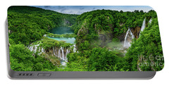 Panorama Of Turquoise Lakes And Waterfalls - A Dramatic View, Plitivice Lakes National Park Croatia Portable Battery Charger