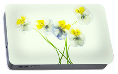 Portable Battery Charger featuring the photograph Pansies 1 by Rebecca Cozart