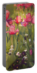 Portable Battery Charger featuring the photograph Pansies And Tulips by Lana Trussell