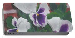 Portable Battery Charger featuring the painting Pansies by Arlene Crafton