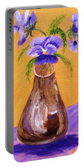 Pansies In Brown Vase Portable Battery Charger