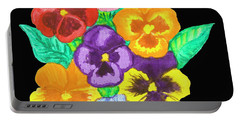 Pansies On Black Portable Battery Charger