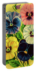 Pansy Flowers Print Portable Battery Charger