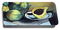 Papaya Still Life Portable Battery Charger by Francine Heykoop