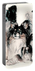 Papillon And Phalene Collage Portable Battery Charger