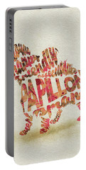 Portable Battery Charger featuring the painting Papillon Dog Watercolor Painting / Typographic Art by Inspirowl Design