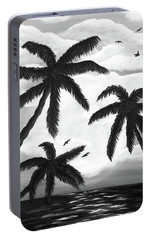 Portable Battery Charger featuring the painting Paradise In Black And White by Teresa Wing
