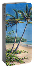 Tropical Paradise Landscape - Hawaii Beach And Palms Painting Portable Battery Charger