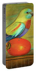 Parakeet On A Persimmon Portable Battery Charger by Leah Saulnier The Painting Maniac