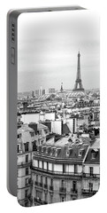 Paris And The Eiffel Tower From Printemps Rooftop  Portable Battery Charger by D Renee Wilson