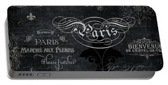 Paris Chalkboard Typography 1 Portable Battery Charger by Audrey Jeanne Roberts