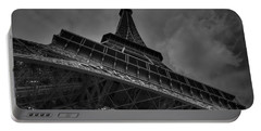 Portable Battery Charger featuring the photograph Paris - Eiffel Tower 001 Bw by Lance Vaughn