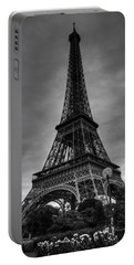 Portable Battery Charger featuring the photograph Paris - Eiffel Tower 004 Bw by Lance Vaughn