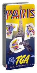 Paris - Fly Tca, Trans Canada Air Lines - Eiffel Tower - Retro Travel Poster - Vintage Poster Portable Battery Charger