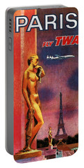 Paris Fly Twa - Trans World Airlines - Eiffel Tower - Retro Travel Poster - Vintage Poster Portable Battery Charger