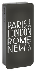 Portable Battery Charger featuring the digital art Paris, London, Rome And New York Pillow by Jaime Friedman